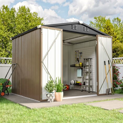 8ft x6ft Brown Metal Garden Shed Garden Storage