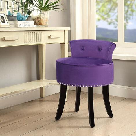 Velvet Dressing Table Chair Vanity Stool Piano Dining Chairs Bedroom Room Purple