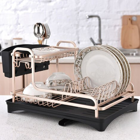 Kitchen Aluminum Bowl Dish Drainer Draining Rack Shelves Holder Gold Cutlery Cup