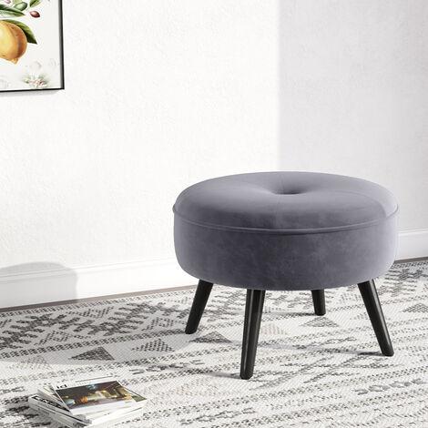 Round Velvet Pouffe Foot Stool Rest Ottoman Chair Seat Dressing Table Bedroom Footsool Grey