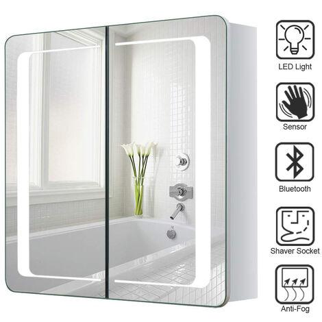 LED Bathroom Mirror Cabinet with Lights Shaver Socket Bluetooth Touch Sensor Demister Pad 650x600MM