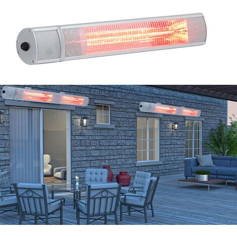 Winter Wall Mounted Electric Patio Heater with Remote Control, 63CM