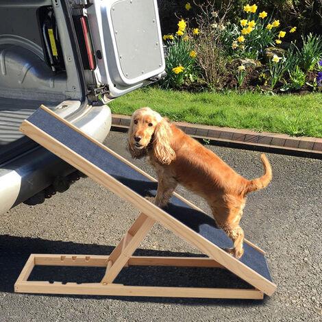 Adjustable Wooden Standing Ladder Dog Cat Pet Ramp Ladder Stair, 70CM
