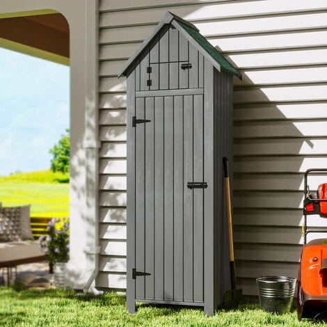 Garden Storage Box Shed Cabinet Tools Shelves Shelter Locker, Grey