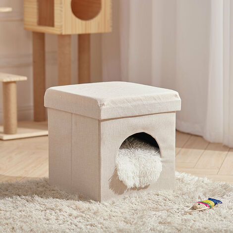 Foldable Cat House Cat Bed Cat Litter Box Pet House Bench Stool with Cushions,White S