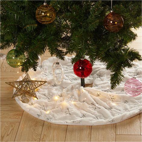 Christmas Tree Decor Snowflake White Xmas Tree Skirt Fur Skirt Christmas Gift Silver 78cm