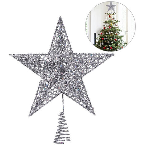 LED Light Up Christmas Tree Topper Star Tree Xmas Ornament Home Party Decoration Silver 25X28cm