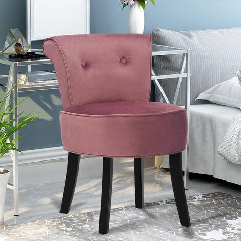 Retro Velvet Dressing Table Stool Footstool Bedroom Chair Vanity Makeup Stool Pink