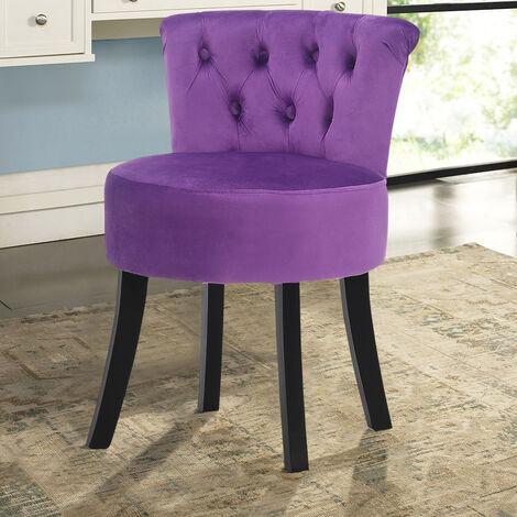 Velvet Stools Makeup Dressing Table Stool Vanity Chair Dining Chairs Purple