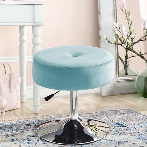 360° Swivel Velvet Bar Stool Gas Lift Dressing Table Vanity Stools Chair Seat Blue