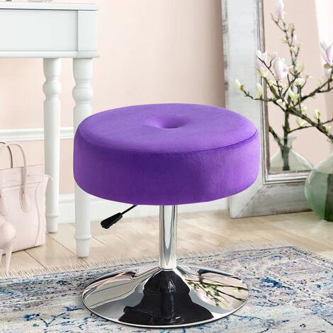 360° Swivel Velvet Stool Gas Lift Dressing Table Vanity Stools Chair Seat Purple