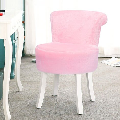 Light Pink Plush Shaggy Dressing Table Stool Chair Piano Makeup Seat Vanity Bedroom Home