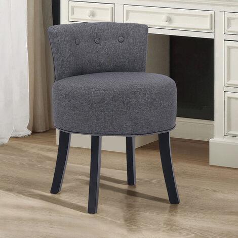Dark Grey Fabric Vanity Stool Upholstered Chair Dressing Table Bedroom Seat