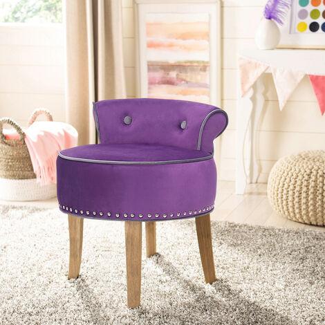 Vanity Dressing Table Stool Velvet Makeup Piano Chair Living Dining Room Bedroom Seat Purple