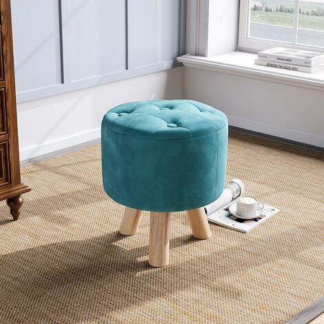 Blue Upholstered Round Stool Thickened Padded Seat Footstool Pouffe Chair Wood Legs
