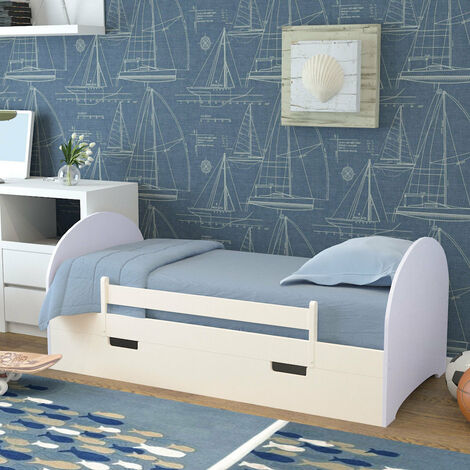 Wood Pine Single Bed Frame Solid Wooden Slatted Bedstead Bedframe With Drawer White