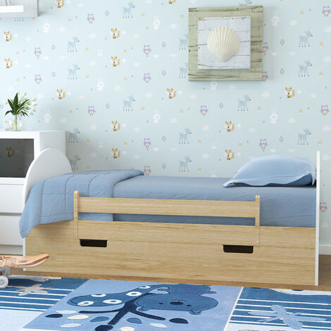 Wood Pine Single Bed Frame Solid Wooden Slatted Bedstead Bedframe With Drawer Natural