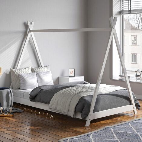 Solid Wood Pine House Bed Frame Toddler Kid Child Boy Girl Wooden Bedstead 190cm White
