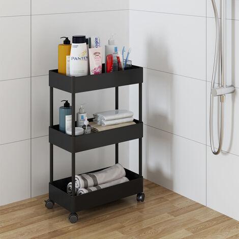 Black 3 Tier Trolley Cart Salon Beauty Storage Rack Shelf Rolling Wheeled Kitchen