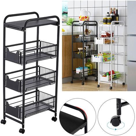 4 Tier Slide Out Fruit Vegetable Basket Rack Kitchen Slim Corner Storage Unit Black
