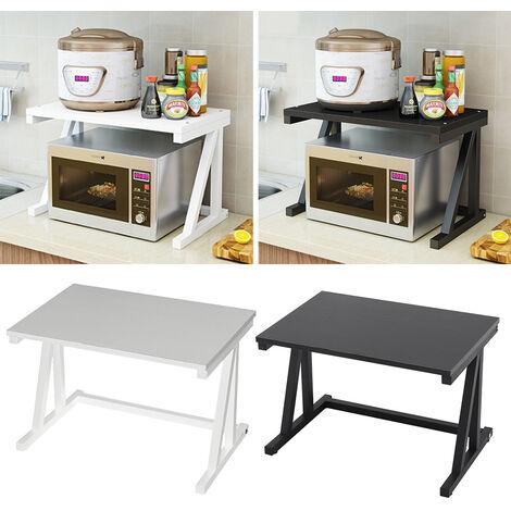 2 Tier Kitchen Microwave Oven Rack Pot Spice Shelf Organizer Storage Table Stand, White