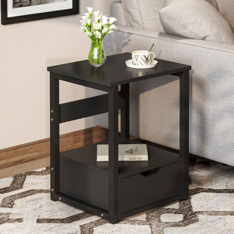 Black Bedside Tables, Bedside Cabinet with 1 Drawers, Industrial Nightstands,Metal Frame, Spacious Storage