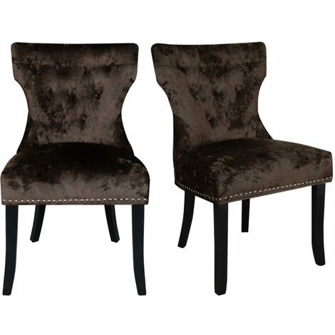 Set of 2 Buttoned Ice Velvet Dining Chairs, Brown