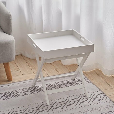 Tray Table Wooden Folding Garden Living Room White 40x40x44 cm