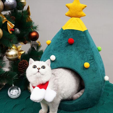 Christmas Xmas Decor Pet Cat House Cave Nest Bed