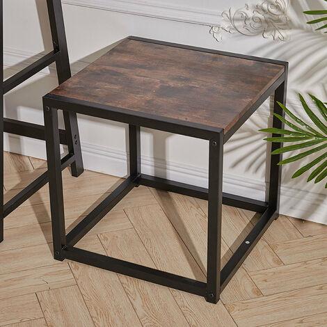 Rustic Brown Wood Sofa Side Table End Table Bedside Table Industrial Metal Frame 45*45*45.5 cm