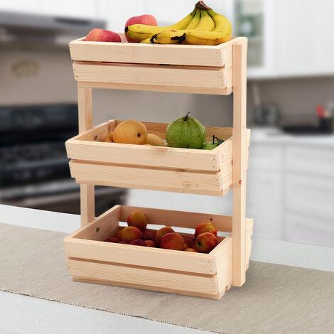 Natural Wooden Vegetable Fruit Rack Kitchen Storage Holder 3 Tier Slatted Container