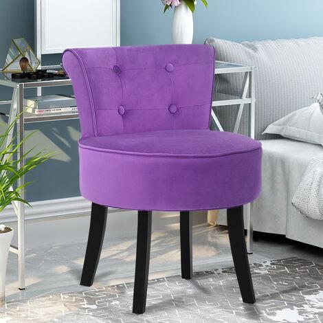 Velvet Dressing Table Chair Vanity Makeup Stool Padded Footstool Bedroom Chair , Purple
