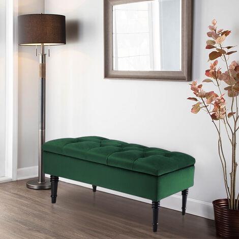 Buttoned Ottoman Storage Chest Toy Velvet Chair Bench Blanket Box Wood Legs , Dark Green