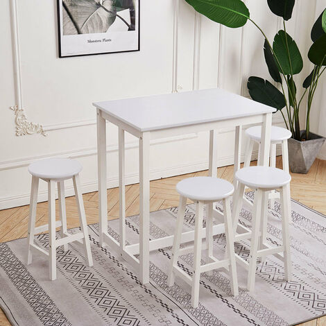 Compact Breakfast Bar Dining Table & 4 Stools Wood Furniture Set Home Kitchen, White