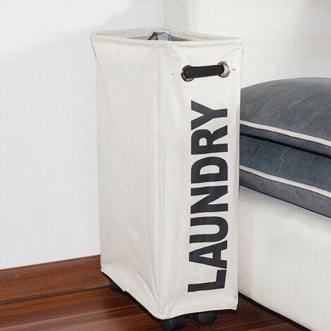 Beige Large Laundry Washing Clothes Bag Hamper Folding Organiser Rack w/ wheels