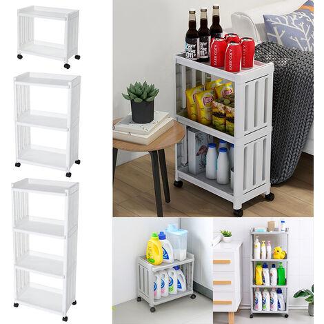 4 Tier Slide Out Kitchen Trolley Cart Storage Holder Rack Bathroom Corner Shelf Unit White