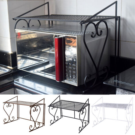 2 Tier Iron Microwave Oven Pot Pan Basin Shelf Stand Kitchen Tools Storage Rack Black