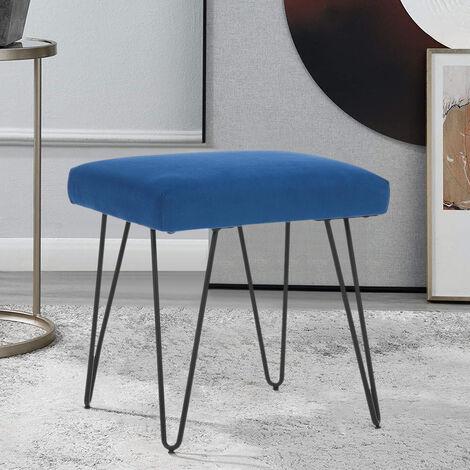 Upholstered Pouffe Stool Vanity Chair Hairpin Leg Bedroom Living Room Side Chair Blue