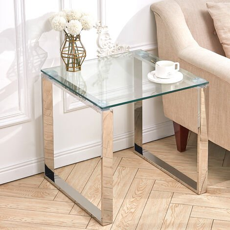 Glass Side Table Chrome Stainless Steel Leg Modern Tempered Glass Living Tables 55x55x56cm (LxWxH)