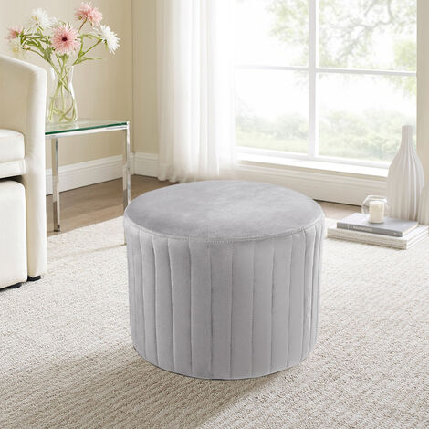 Round Velvet Bedroom Stool Chair Dressing Table Ottoman Living Room Home Furniture , Grey