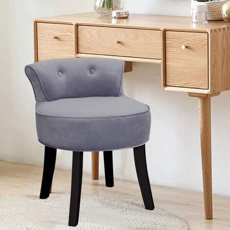 Dressing Table Stool Grey Velvet Vanity Chair Bedroom Makeup Stools Seat Back Padded