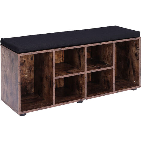 Shoe Cabinet Storage Compartment Shelf Footwear Boots Rack Bench w/ Seat Cushion