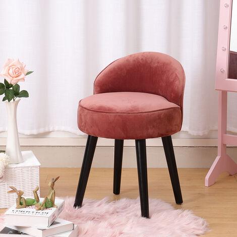 Smoky Pink Velvet Vanity Stool Dressing Table Chair Bedroom Side Upholstered Seat