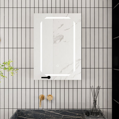 Led Illuminated Bathroom Mirror Cabinet with Shaver Socket 650(W)*600(H)*135(D)mm