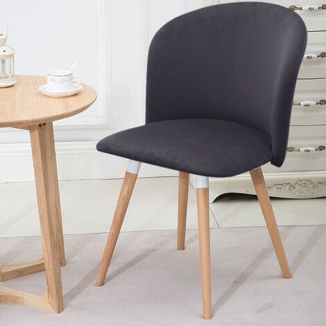 Velvet Dining Chair Wooden Legs Grey