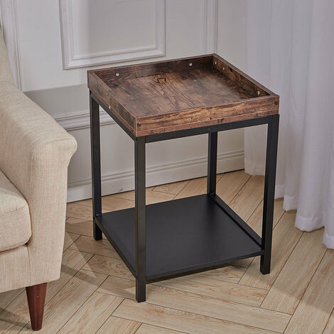 Retro Vintage Wooden Butler Tray Table Bottom Shelf 2 Tiers Food Serving Stand