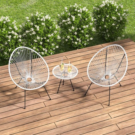 Set of 3 Outdoor Egg Designer Patio Furniture Set Table and 2 Chairs, White