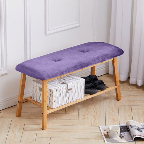 Bamboo 2 Tier Hallway Bench Shoe Rack Stand Organiser With Upholstered Seat - Purple