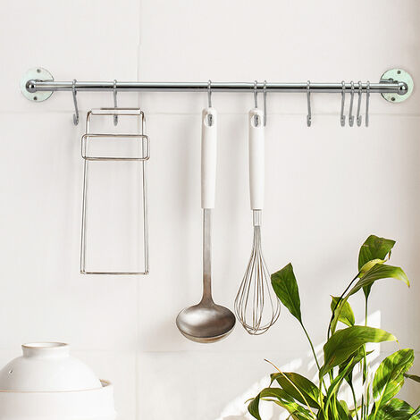 Hanging Rail Kitchen Wall Mounted Utensils Storage Rack Towels Hanger with Hooks - 100CM