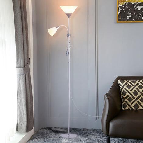 Floor Standing Reading Light Night Tall Lamp Uplighter Multi Purpose,Plating Silver Grey